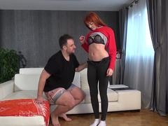 Large cumshot on face demolishes cute redhead!