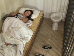 Solitary video with Anina Silk that wakes up in cage and plus masturbates