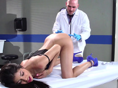Doctor with a big cum cannon fucking his skinny Latina patient