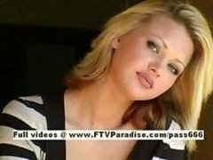 Svetlana glamorous blonde broad drinks cofee