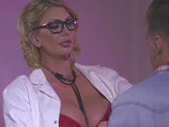 Doctor Leigh Darby makes love the young and fresh patient until he cums