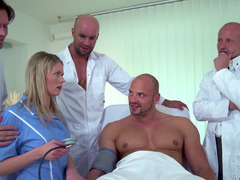 Sexy blonde hospital worker gets four love tools unsuspected