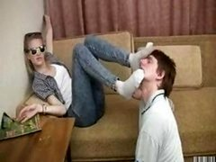 Blonde dominates her boyfriend & makes him kiss feet & sits on his face