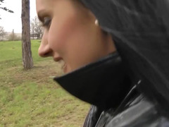 Russian doxy blows ramrod and additionally rides it in the public park in autumn