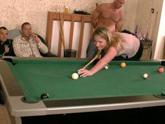 Slut receives four cumshots after losing pool game