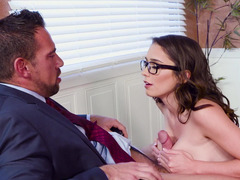 Professor pounds his beautiful and slutty student in stockings
