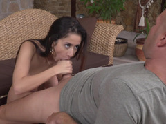 Beauty with big naturals sits her cunt on his hard cock