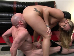 Female domination by crazy blonde bitch and bald sissy boy