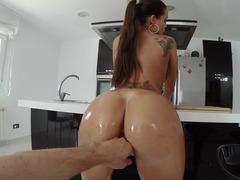 European girl places her sexy oiled up body on top of a guys shaft