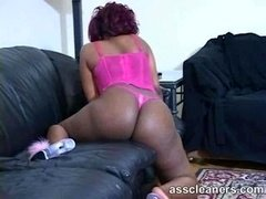 Chubby ebony domme shows off her weighty ass cheeks & bounces it more than enough for you to be teased to lick & eat it