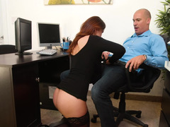 Secretary spends her day pleasing his rock hard cock