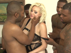 Jenna Ivory team-fucked by a group of four excited black guys