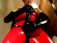 Latex domme with large strapon !