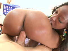 A couple of ebony sluts are sitting on a white cock in the threesome