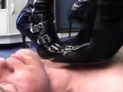 Biker tied up boots trampled & ballbusted by 2 doms