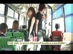 Mihiro far eastern porn model enjoys a making love on the bus