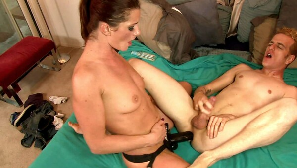 Cici Rhodes pegs him in the ass with her big black cock