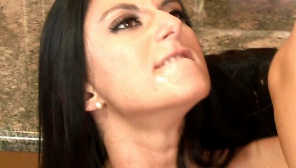 Ravishing brunette stepmom bent over and rammed in the kitchen