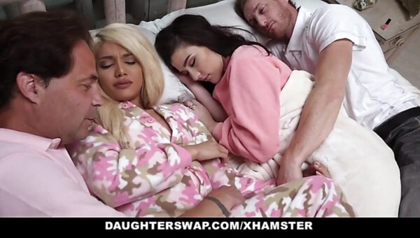 DaughterSwap masturbation-getting off Daughters Nailed During SlumberParty