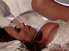A hot bride is getting a flag pole in her beefy and juicy muff