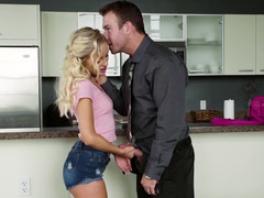 Slutty babysitter and his wife double team the lucky hubby