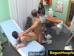 Doctor pussy fucks cleaner before nurse joins