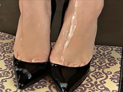handjob in high heels cum