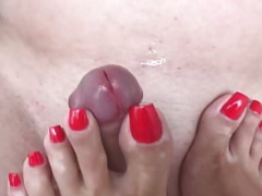 Footjob and besides cum on feet