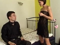 Facesitting femdom giving bj & dominating handcuffed slave & masked sub