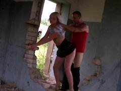Amateur blonde slut gets nailed in an abandoned house by two guys