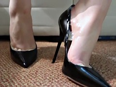 black stilettos dangling & heeljob