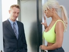 Gorgeous blonde housewife fucking her husband's boss