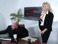 A blonde gets nude and besides fucked in the office