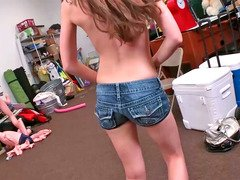 Adorable brunette legal teen munches on her man's long stiff sausage