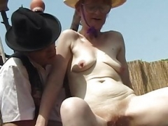bushy granny outdoor fucked with big turnip