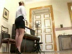 Strict feet admiring teacher punishes kitten