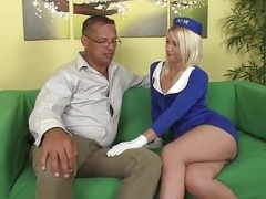 Small stewardess bouncing on oldmans cock