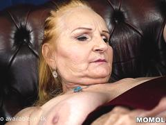 Big cock filled shaved mature pussy
