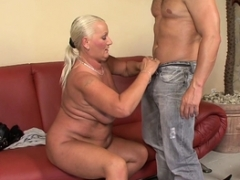 Breasty blonde grandma takes it in the ass