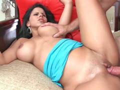 Excited bigtitted Latina moans while her depilated twat is screwed