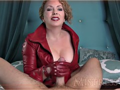mistress handjob red leather