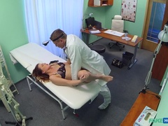 Brunette Gets Doc on the Exam Table