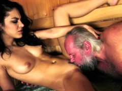 Young-looking stunner pounded at a sauna by grandpa