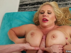 Mom cougar with huge fake tits Karen Fisher gets titty fucked