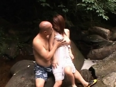Tight asiatic oozy crack gets fingered and stuffed outdoors