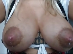 Lactating puffy nips on mommy blonde