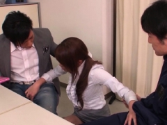 Japanese girl has a threesome in the teacher's lounge