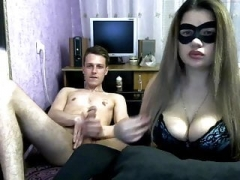 Chick with mask give blowjob her boyfriend