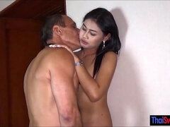 Older dude cheating with a hot asian Thai street hooker