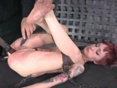 Bound beauty gets gagged and toyed